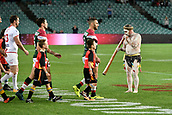 4th November 2017, Sydney Football Stadium, Sydney, Australia; Rugby League World Cup, England versus Lebanon; an aboriginal elder welcomes Robbie Farah captain of Lebanon and Sean O'Loughlin captain of England onto the pitch