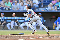 Rome Braves center fielder Drew Waters (11) runs to first base during a game against the Asheville Tourists at McCormick Field on June 7, 2018 in Asheville, North Carolina. The Braves defeated the Tourists 8-6. (Tony Farlow/Four Seam Images)