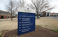 NWA Democrat-Gazette/DAVID GOTTSCHALK Signage on the expanding campus Tuesday, February 27, 2018, at John Brown University in Siloam Springs.