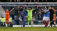 Blackpool's goalkeeper Christoffer Mafoumbi protects his goal<br /> <br /> Photographer Andrew Kearns/CameraSport<br /> <br /> The EFL Sky Bet League One - Portsmouth v Blackpool - Saturday 12th January 2019 - Fratton Park - Portsmouth<br /> <br /> World Copyright &copy; 2019 CameraSport. All rights reserved. 43 Linden Ave. Countesthorpe. Leicester. England. LE8 5PG - Tel: +44 (0) 116 277 4147 - admin@camerasport.com - www.camerasport.com