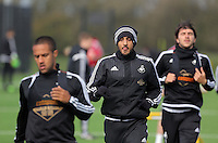 L-R Wayne Routledge, Neil Taylor and Alberto Paloschi during the Swansea City FC training at Fairwood training ground in Wales, UK on Wednesday 06 April 2016