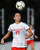 Nicole Hetzel #17 of Wheatley gets ready to make a header during the Nassau County varsity girls soccer Class B final against Carle Place at Cold Spring Harbor High School on Tuesday, Nov. 1, 2016. Wheatley won by a score of 5-0.