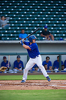 AZL Cubs catcher Marcus Mastrobuoni (5) at bat against the AZL Rangers on July 24, 2017 at Sloan Park in Mesa, Arizona. AZL Cubs defeated the AZL Rangers 2-1. (Zachary Lucy/Four Seam Images)