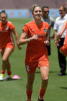 Houston, TX - Saturday May 27, 2017: Morgan Brian warming up during a regular season National Women's Soccer League (NWSL) match between the Houston Dash and the Seattle Reign FC at BBVA Compass Stadium.