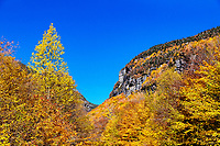 Scenic autumn landscape at Smugglers Notch State Park.