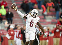 NWA Democrat-Gazette/CHARLIE KAIJO Mississippi State linebacker Willie Gay Jr. (6) reacts after recovering a fumble by Arkansas running back A'Montae Spivey (24), Saturday, November 2, 2019 during the fourth quarter of a football game at Donald W. Reynolds Razorback Stadium in Fayetteville. Visit nwadg.com/photos to see more photographs from the game.