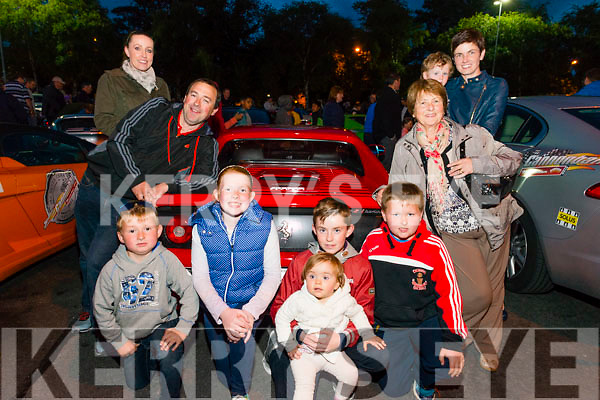 L-R Rebecca Walsh, Liam Murphy, Ruairu Murphy, Hanna Herlihy, Cian Walsh Murphy, Elana Murphy, Michael Murphy, Hannah Mai Murphy, Zak Buckley and Anne Marie Buckley all from Scartaglin at the finish line of day 2 Cannonball Race in Killarney last Saturday afternoon. More then 180 cars participated in the event and all the founds raised will go to Make a Wish Fundation.