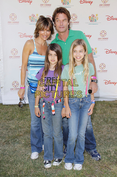 "LISA RINNA, HARRY HAMLIN & DAUGHTERS (Amelia Gray & Delilah Belle).The 20th annual ""A Time for Heroes"" Celebrity Carnival benefiting Elizabeth Glaser Pediatric AIDS Foundation held at Wadsworth Theater on the Veteran Administration Lawn in West Los Angeles, California, USA. .June 7th, 2009.full length black jeans kids children green purple blue mother mom mum father dad married husband wife .CAP/DVS                                                  .©Debbie VanStory/Capital Pictures."