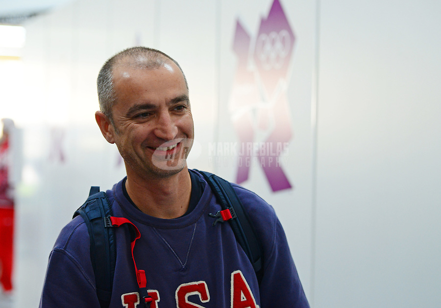 Aug 2, 2012; Greenwich, United Kingdom; Emil Milev (USA) during the 25m rapid fire pistol men's qualification at the London 2012 Olympic Games at Royal Artillery Barracks. Mandatory Credit: Mark J. Rebilas-USA TODAY Sports