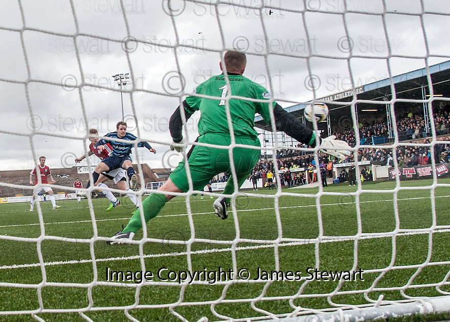 Ayr Utd's Jordan Preston scores their second goal.