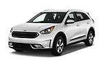 2017 KIA Niro LX PHEV 5 Door Hatchback angular front stock photos of front three quarter view