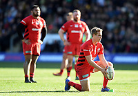 Max Malins of Saracens lines the ball up for a kick at the posts. Premiership Rugby Cup Final, between Northampton Saints and Saracens on March 17, 2019 at Franklin's Gardens in Northampton, England. Photo by: Patrick Khachfe / JMP