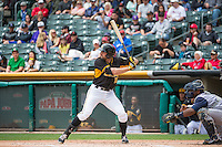 Kyle Kubitza (10) of the Salt Lake Bees at bat against the Colorado Springs Sky Sox in Pacific Coast League action at Smith's Ballpark on May 24, 2015 in Salt Lake City, Utah.  (Stephen Smith/Four Seam Images)