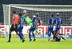 03.11.2018, OLympiastadion, Berlin, GER, DFL, 1.FBL, Hertha BSC VS. RB Leipzig, <br /> DFL  regulations prohibit any use of photographs as image sequences and/or quasi-video<br /> <br /> im Bild 0: 3 durch Matheus Cunha (RB Leipzig #20), Rune Jarstein (Hertha BSC Berlin #22), Valentino Lazaro (Hertha BSC Berlin #20), Fabian Lustenberger (Hertha BSC Berlin #28), Karim Rekik (Hertha BSC Berlin #4), Arne Maier (Hertha BSC Berlin #26) schauen zu<br /> <br />       <br /> Foto © nordphoto / Engler