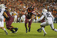 Landover, MD - September 3, 2017: Virginia Tech Hokies running back Travon McMillian (34) runs the ball during game between Virginia Tech and WVA at  FedEx Field in Landover, MD.  (Photo by Elliott Brown/Media Images International)