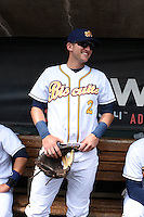Montgomery Biscuits shortstop Jake Hager (2) in the dugout before a game against the Mississippi Braves on April 22, 2014 at Riverwalk Stadium in Montgomery, Alabama.  Mississippi defeated Montgomery 6-2.  (Mike Janes/Four Seam Images)