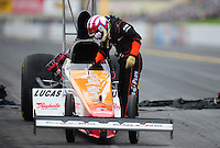 Oct. 1, 2011; Mohnton, PA, USA: NHRA top fuel dragster driver Clay Millican during qualifying for the Auto Plus Nationals at Maple Grove Raceway. Mandatory Credit: Mark J. Rebilas-