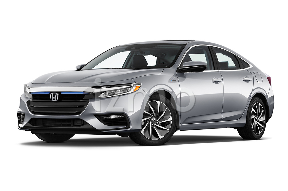 Stock pictures of low aggressive front three quarter view of a 2020 Honda Insight Touring 5 Door Hatchback