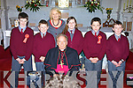 Pupils of Kilconly National School, Ballybunion Mark O'Donoghue, Patrick Dineen, Hillary Costello, Cormac Linnane and Dara Costel pictured with their teacher Patricia Boyle and Bishop Bill Murphy after being Confirmed in St John's Church, Ballybunion on Monday.