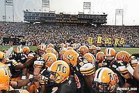 September 7, 2009; Hamilton, ON, CAN; Hamilton Tiger-Cats huddle at centrefield. CFL football - the Labour Day Classic - Toronto Argonauts vs. Hamilton Tiger-Cats at Ivor Wynne Stadium. The Tiger-Cats defeated the Argos 34-15. Mandatory Credit: Ron Scheffler.