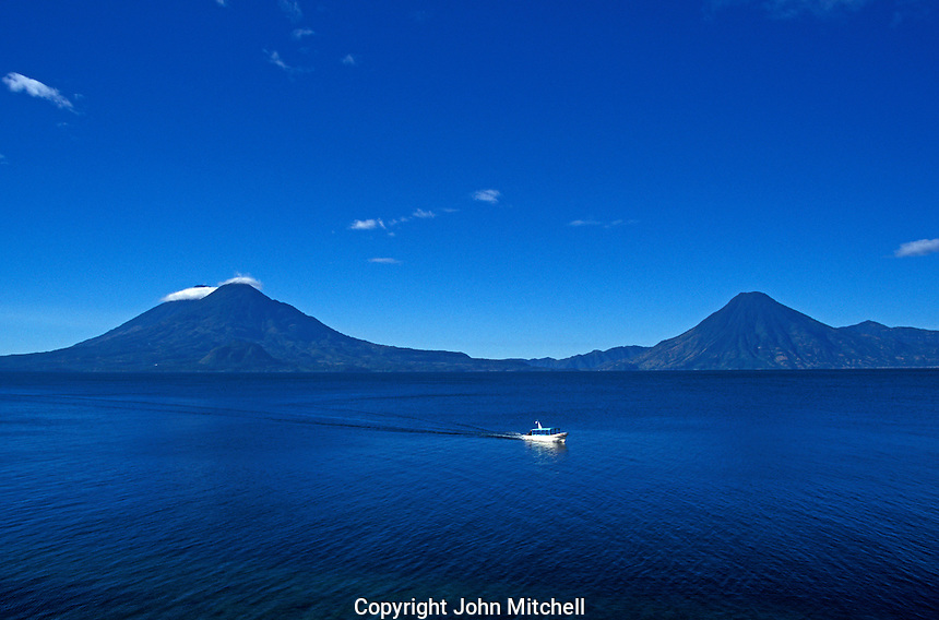 Ferry boat crossing Lake Atitlan, Guatemala
