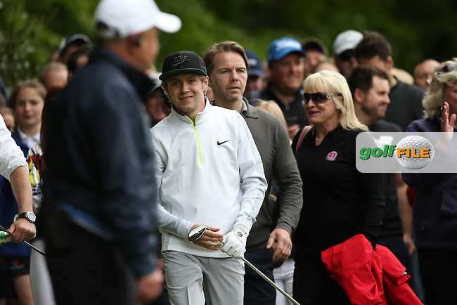 One Direction's Niall Horan plays down the 17th during the Pro-Am ahead of the 2015 BMW PGA Championship over the West Course at Wentworth, Virginia Water, London. Picture David lloyd, www.golffile.ie: 20/05/2015