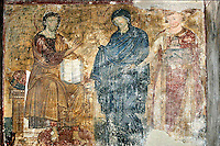 Christ,Virgin Mary,king Vladislav,founder of the Monastery,fresco,founder's composition,nave,northern wall,Milesheva  Monastery of Ascension of the Lord , 1234-1235