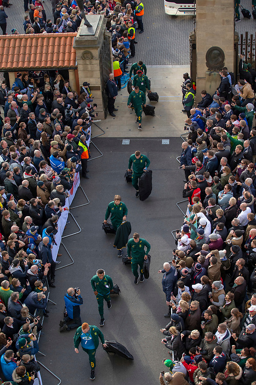 South Africa arrive at the ground<br /> <br /> Photographer Bob Bradford/CameraSport<br /> <br /> Quilter Internationals - England v South Africa - Saturday 3rd November 2018 - Twickenham Stadium - London<br /> <br /> World Copyright © 2018 CameraSport. All rights reserved. 43 Linden Ave. Countesthorpe. Leicester. England. LE8 5PG - Tel: +44 (0) 116 277 4147 - admin@camerasport.com - www.camerasport.com
