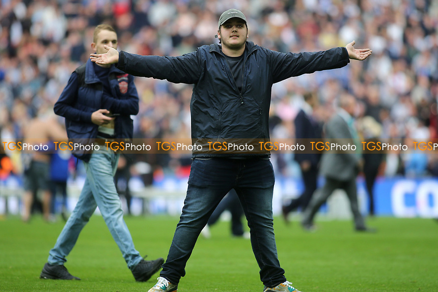 A Millwall fan taunts the Bradford City supporters at the end of the match during Bradford City vs Millwall, Sky Bet EFL League 1 Play-Off Final at Wembley Stadium on 20th May 2017
