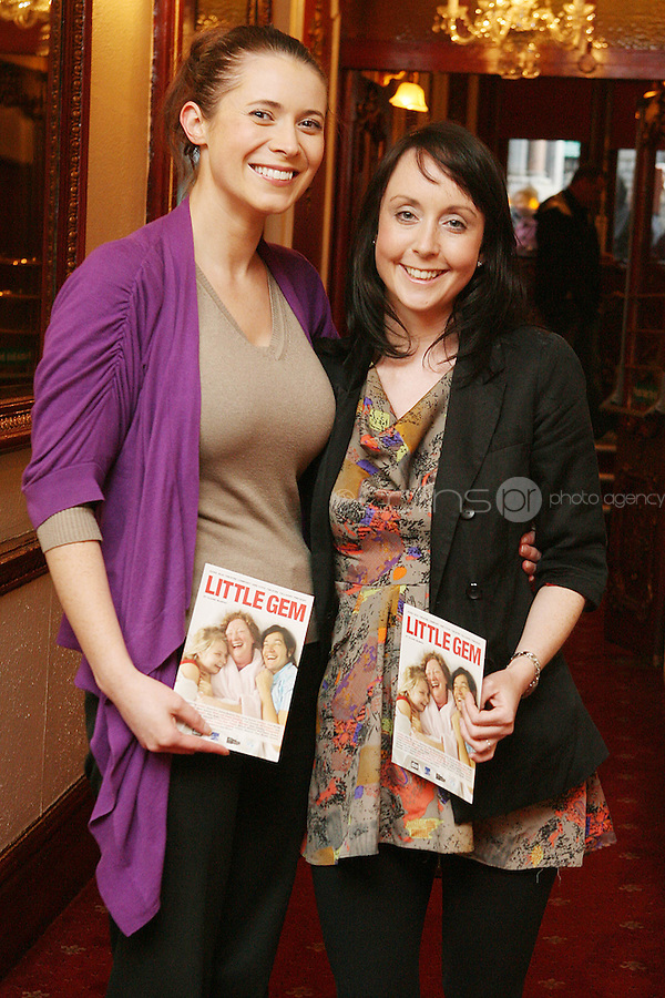 26/8/2010. NO REPRO FEE. Little Gem Opening night.  Michelle Mc Donnell and Niamh Flynn are pictured at the Olympia Theatre Dublin for the opening night of Little Gem. Hilda Fay makes her return as Lorraine, Anita Reeves continues in the role of Kay, and Genevieve Hulme-Beaman takes on the role of Amber. After sell-out seasons in New York, London and Paris and a sold-out 7-week run at Ireland's National Theatre, Gúna Nua is bringing its bittersweet comedy Little Gem back to Dublin for 10 shows only at The Olympia Theatre from August 26 to September 4, 2010. Love, sex, birth, death, dildos and salsa classes: Elaine Murphy's award winning Little Gem sees three generations of Dublin women on a wild and constantly surprising journey. Picture James Horan/Collins Photos