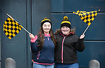 Ballyea  fans  Laura Fennell and Emma Lucey on Jones' Road before the All-Ireland Club Hurling Final against Cuala at Croke Park. Photograph by John Kelly.