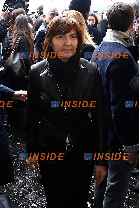 Renata Polverinni.Roma 02/04/2013. Piazza del Popolo, Chiesa degli artisti, funerali del cantautore Franco Califano.Photo Matteo Minnella/Oneshot/Insidefoto