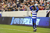 Jair Benitez (5) of FC Dallas on a throw in. The New York Red Bulls defeated FC Dallas 2-1 during a Major League Soccer (MLS) match at Red Bull Arena in Harrison, NJ, on April 17, 2010.