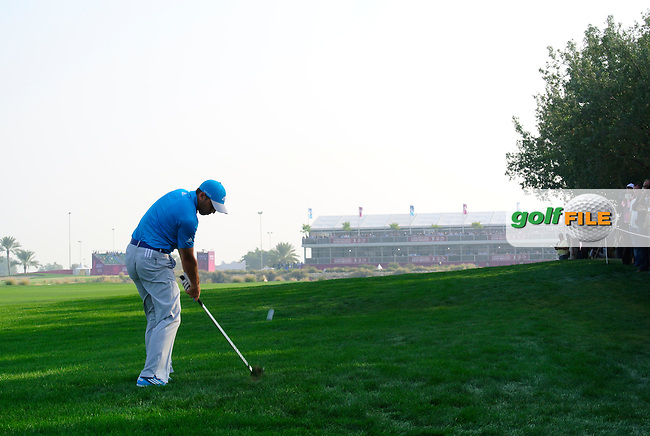 Sergio Garcia (ESP) plays his 2nd shot on the 18th hole during Saturday's Final Round of the Commercial Bank Qatar Masters 2014 held at Doha Golf Club, Doha, Qatar. 25th January 2014.<br /> Picture: Eoin Clarke www.golffile.ie