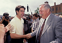 Andre Boisclair, Leader of the Parti québécois since November 15, 2005, and Leader of the Official Opposition since August 21, 2006 seen shaking hand with (then) PQ leader Jacques Parizeau (L) in an August 1994  file photo<br />