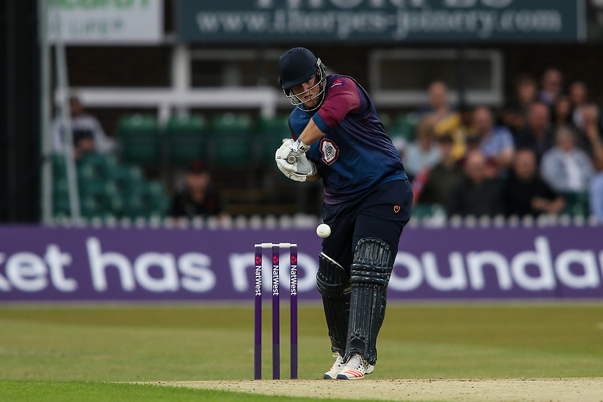 Northamptonshire's Richard Levi watches the ball onto his bat<br /> <br /> Photographer Andrew Kearns/CameraSport<br /> <br /> NatWest T20 Blast - Leicestershire Foxes vs Northamptonshire Steelbacks - Friday 21st July 2017 - Grace Road Leicester <br /> <br /> World Copyright &copy; 2017 CameraSport. All rights reserved. 43 Linden Ave. Countesthorpe. Leicester. England. LE8 5PG - Tel: +44 (0) 116 277 4147 - admin@camerasport.com - www.camerasport.com