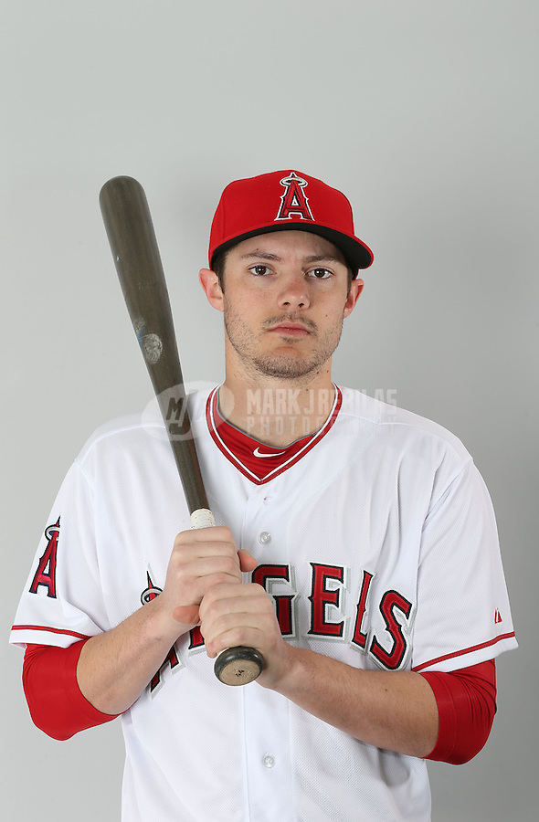 Feb. 21, 2013; Tempe, AZ, USA: Los Angeles Angels infielder Eric Stamets poses for a portrait during photo day at Tempe Diablo Stadium. Mandatory Credit: Mark J. Rebilas-