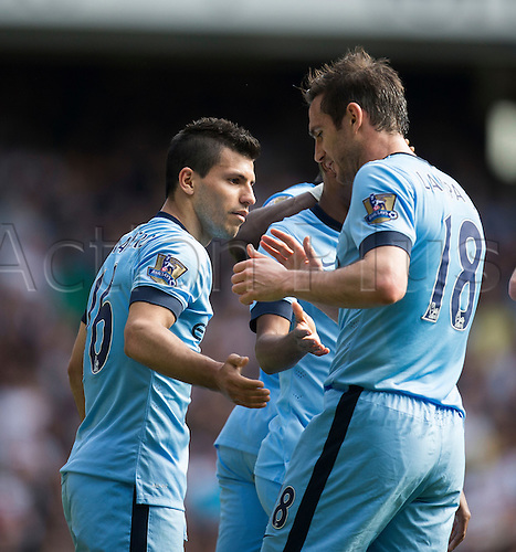 03.05.2015.  London, England. Barclays Premier League. Tottenham Hotspur versus Manchester City. Manchester City's Sergio Agüero is congratulated by Manchester City's Frank Lampard after his goal.