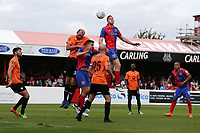 Ben Goodliffe of Dagenham and Redbridge rises highest during Dagenham & Redbridge vs Chesterfield, Vanarama National League Football at the Chigwell Construction Stadium on 15th September 2018