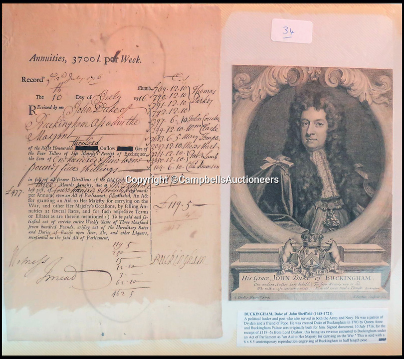 BNPS.co.uk (01202 558833)<br /> Pic: CampbellsAuctioneers/BNPS<br /> <br /> An official printed receipt signed and dated by John Sheffield, Ist Duke of Buckingham and Normanby, July 1716. <br /> <br /> A magnificent collection of more than 1,000 signatures and letters from iconic historical figures including the Duke of Wellington, Picasso and Sir Winston Churchill have emerged for auction.<br /> <br /> The collection, which spans 300 years, was amassed by the late animal rights campaigner Jon Evans who meticulously framed or put the signatures in albums.<br /> <br /> Other famous figures in his collection include Charles Dickens, Sir Edmund Hilary, Mahatma Gandhi, Neil Armstrong, Lord Kitchener, Rudyard Kipling and Margaret Thatcher.<br /> <br /> The extensive array of documents is now expected to fetch &pound;30,000 at Campbells Auctioneers tomorrow (Tues).