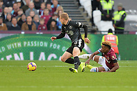 Grady Diangana of West Ham United tackles Matěj Vydra of Burnleyduring West Ham United vs Burnley, Premier League Football at The London Stadium on 3rd November 2018