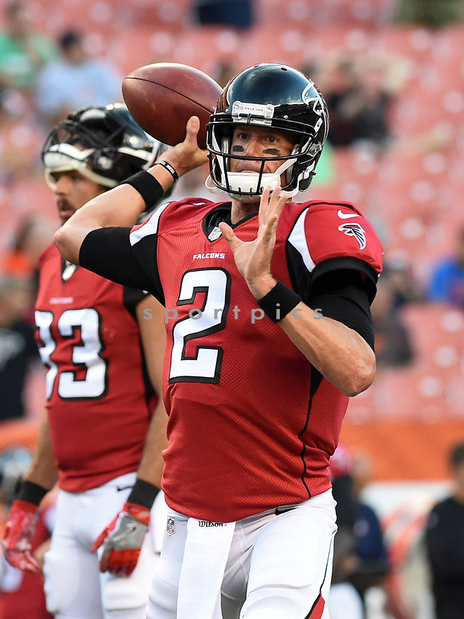 CLEVELAND, OH - AUGUST 18, 2016: Quarterback Matt Ryan #2 of the Atlanta Falcons throws a pass prior to a preseason game on August 18, 2016 against the Cleveland Browns at FirstEnergy Stadium in Cleveland, Ohio. Atlanta won 24-13. (Photo by: 2016 Nick Cammett/Diamond Images) *** Local Caption *** Matt Ryan