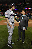 WASHINGTON DC - OCTOBER 27: Ken Rosenthal talks to Astros pitcher Gerrit Cole following World Series Game 5: Houston Astros at Washington Nationals on Fox Sports at Nationals Park on October 27, 2019 in Washington, DC. (Photo by Frank Micelotta/Fox Sports/PictureGroup)