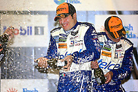 Memo Rojas and Scott Pruett celebrate after winning the 12 Hours of Sebring, Sebring International Raceway, Sebring, FL, March 2014.  (Photo by Brian Cleary/www.bcpix.com)