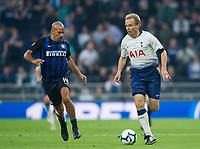 Spurs Legends Jurgen Klinsmann and Inter Forever Juan Sebastian Veron during the Tottenham Hotspur Legends v Inter Milan Legends during the 2nd test event at Tottenham Hotspur Stadium, High Road, London, England on 30 March 2019. Photo by Andrew Aleksiejczuk / PRiME Media Images.