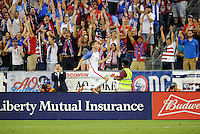 Kansas City, KS. - May 28, 2016: Christian Pulisic celebrates his goal. The U.S. Men's national team defeated Bolivia 4-0 in an international friendly tuneup match prior to the opening of the 2016 Copa America Centenario at Children's Mercy Park.