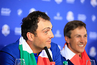 Francesco Molinari (Team Europe) during media interview after the sunday singles at the Ryder Cup, Le Golf National, Paris, France. 30/09/2018.<br /> Picture Phil Inglis / Golffile.ie<br /> <br /> All photo usage must carry mandatory copyright credit (&copy; Golffile | Phil Inglis)