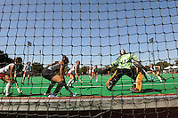 Stanford, CA - SEPTEMBER 27:  Midfielder Xanthe Travlos #9 (far right) of the Stanford Cardinal shoots on goal during Stanford's 7-0 win against the Pacific Tigers on September 27, 2008 at the Varsity Field Hockey Turf in Stanford, California.