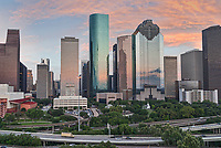 This was another capture of the Houston skyline from our orignal aerial pano.  This was a wonderful sunset over the Houston skyline using our aerial drone to capture this colorful sky with the area near the museum district.  In any case you can never have too many sunset images of the Houston skyline  in my opionion.  Capture this aerial image of Houston Skyline right as the sun was setting and as it was going down it started to back light these wonderful clouds over the city with these wonderful colors of orange, pinks and yellows. Houston is a large city with a population around 2.3 million people which makes it the fourth most populous city in the US. Houston is also the largest city in the southern united states. The skyline of Houston is very impressive site with some of the tallest and modern skyscrapers buildings in the US. In this image you can see the Heritage Plaza, Wells Fargo and the tallest building in Houston the J P Morgan Chase Tower at 1002 ft and it the 17 tallest in the US. This urban area almost always has something going on and today we capture a great sunset over the city .