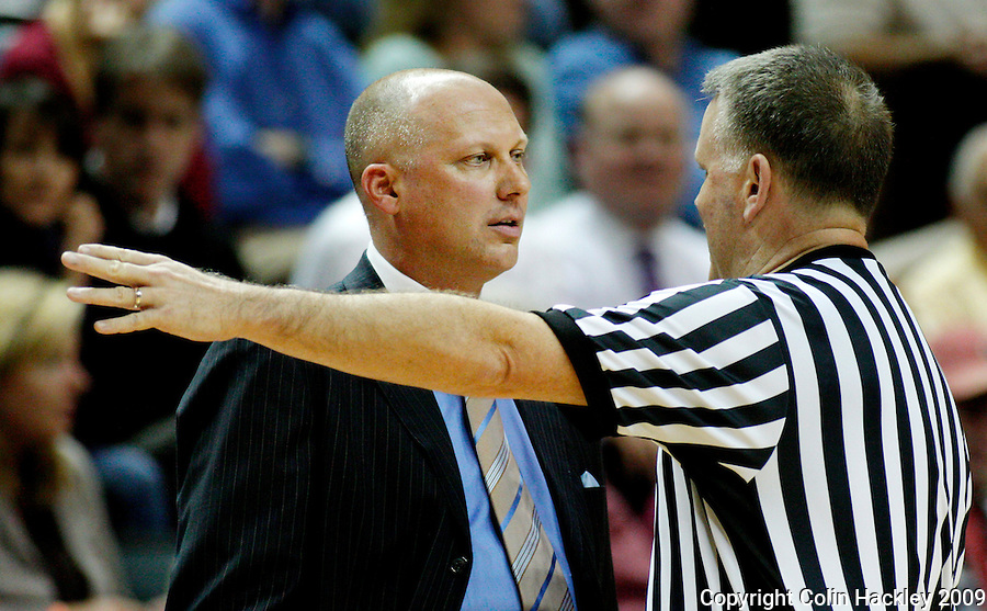 TALLAHASSEE, FL 12/11/09-FSU-AU BB09 CH20-Auburn Head Coach Jeff Lebo talks with an offical during first half action against Florida State Thursday at the Donald L. Tucker Center in Tallahassee...COLIN HACKLEY PHOTO